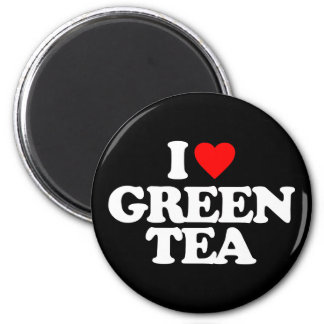 I LOVE GREEN TEA 6 CM ROUND MAGNET