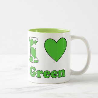 I love Green Two-Tone Coffee Mug
