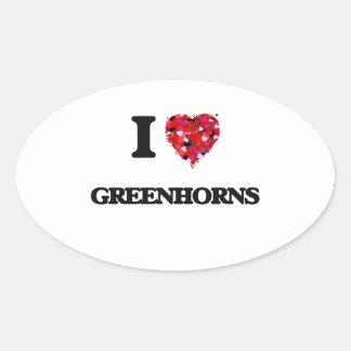 I Love Greenhorns Oval Sticker
