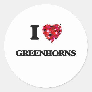 I Love Greenhorns Round Sticker