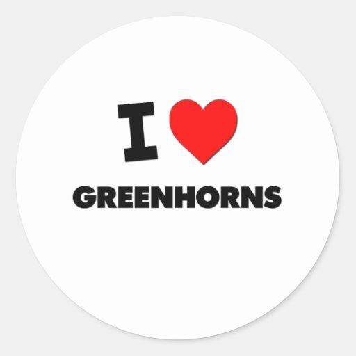 I Love Greenhorns Round Stickers