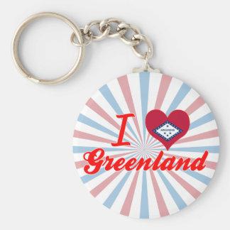 I Love Greenland, Arkansas Basic Round Button Key Ring