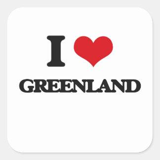 I Love Greenland Square Stickers
