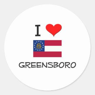 I Love GREENSBORO Georgia Round Stickers