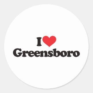 I Love Greensboro Round Sticker