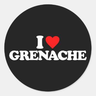 I LOVE GRENACHE ROUND STICKER