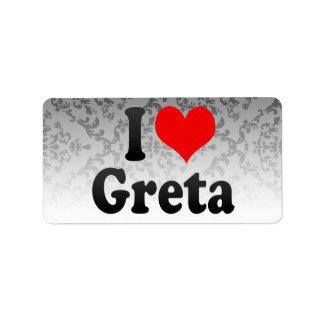 I love Greta Address Label