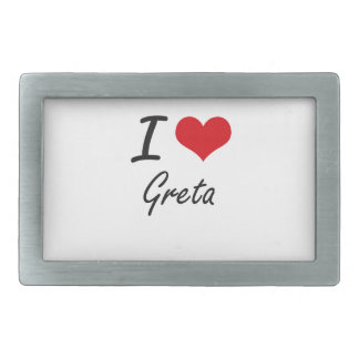 I Love Greta artistic design Belt Buckle