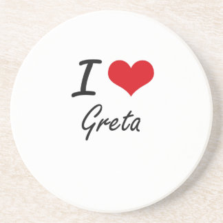 I Love Greta artistic design Beverage Coasters