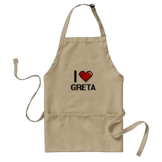 I Love Greta Digital Retro Design Adult Apron