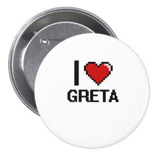 I Love Greta Digital Retro Design 3 Inch Round Button
