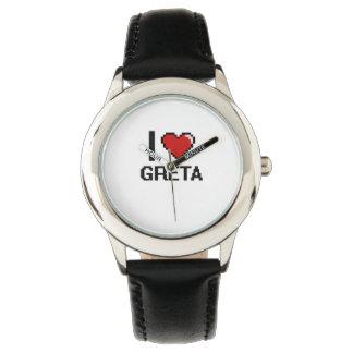 I Love Greta Digital Retro Design Wrist Watch
