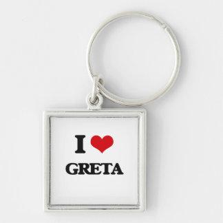 I Love Greta Silver-Colored Square Keychain