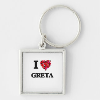 I Love Greta Silver-Colored Square Key Ring
