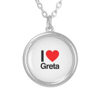 i love greta round pendant necklace