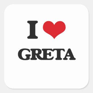 I Love Greta Square Sticker