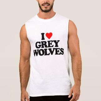 I LOVE GREY WOLVES SLEEVELESS SHIRTS