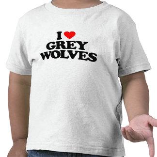 I LOVE GREY WOLVES TEE SHIRTS