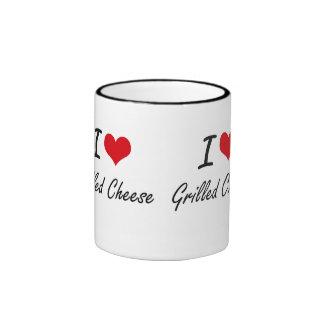 I Love Grilled Cheese artistic design Ringer Mug
