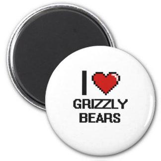 I love Grizzly Bears Digital Design 6 Cm Round Magnet