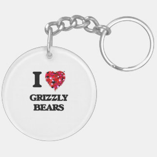 I Love Grizzly Bears Double-Sided Round Acrylic Key Ring