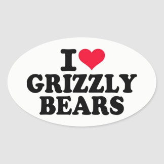 I Love Grizzly Bears Oval Sticker