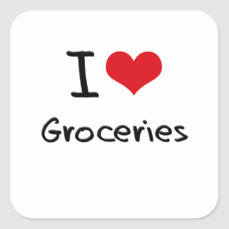 I Love Groceries Square Stickers