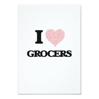 I love Grocers (Heart made from words) 9 Cm X 13 Cm Invitation Card