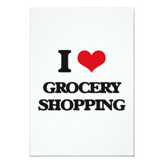 """I love Grocery Shopping 3.5"""" X 5"""" Invitation Card"""
