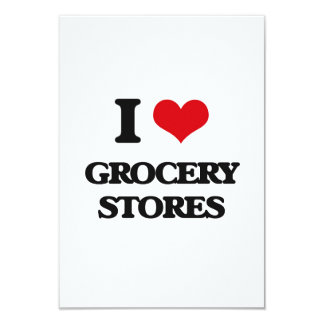 """I love Grocery Stores 3.5"""" X 5"""" Invitation Card"""