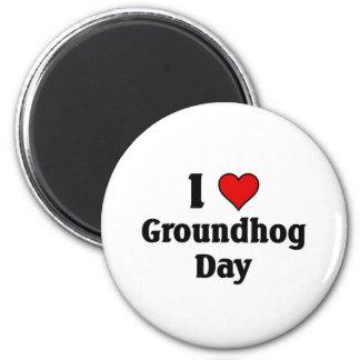 I love Groundhog Day 6 Cm Round Magnet