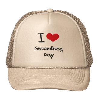I Love Groundhog Day Trucker Hats