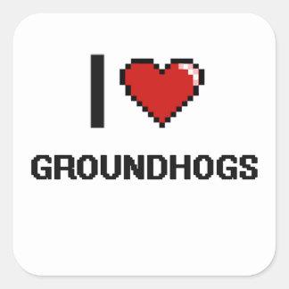 I love Groundhogs Digital Design Square Sticker