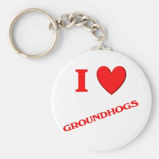 I Love Groundhogs Key Chains