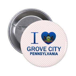 I Love Grove City, PA 6 Cm Round Badge
