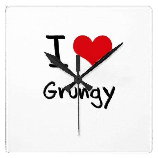 I Love Grungy Wall Clock