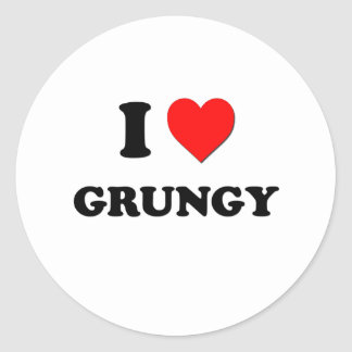 I Love Grungy Round Stickers