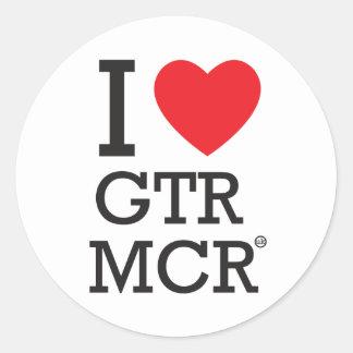 I LOVE GTR MCR CLASSIC ROUND STICKER