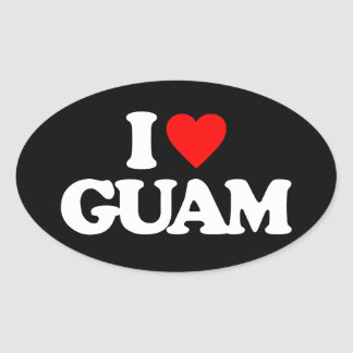 I LOVE GUAM OVAL STICKER