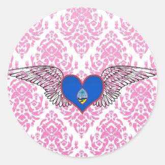 I Love Guam -wings Classic Round Sticker
