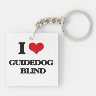 I love Guidedog   Blind Square Acrylic Keychains