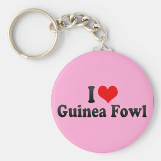 I Love Guinea Fowl Basic Round Button Key Ring