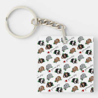 I love guinea pigs Single-Sided square acrylic key ring