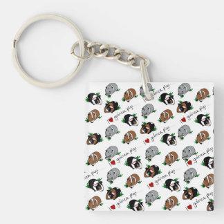 I love guinea pigs Single-Sided square acrylic key ring