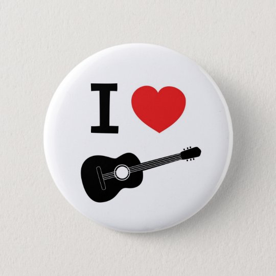 I love guitar 6 cm round badge