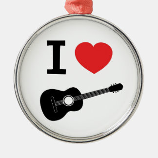 I love guitar Silver-Colored round decoration