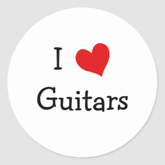 I Love Guitars Classic Round Sticker