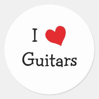 I Love Guitars Round Sticker