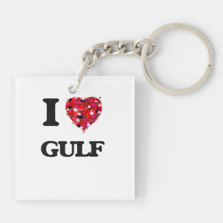 I Love Gulf Double-Sided Square Acrylic Key Ring