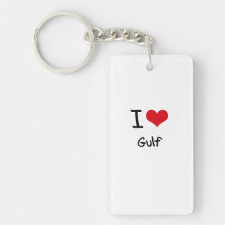 I Love Gulf Double-Sided Rectangular Acrylic Key Ring